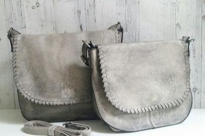 Schoudertas leverkleur/grijs groot