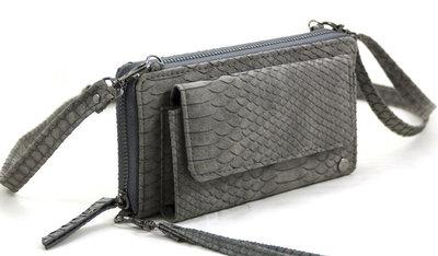 Donker grijze snake portemonnee met voorvak
