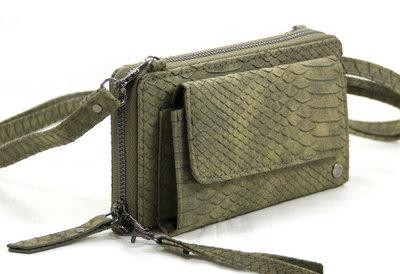 Groene snake portemonnee met voorvak